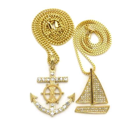 Stone Stud Sailboat & Nautical Wheel Anchor Pendant Set w/ Box & Cuban Chain Necklaces, Gold-Tone