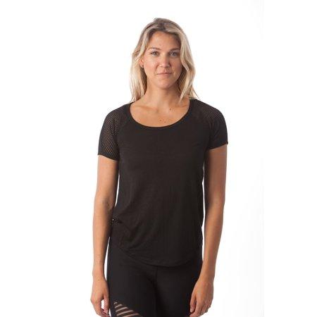 Degree Tee Shirts - 90 Degree By Reflex - Fishnet Short Sleeve Top