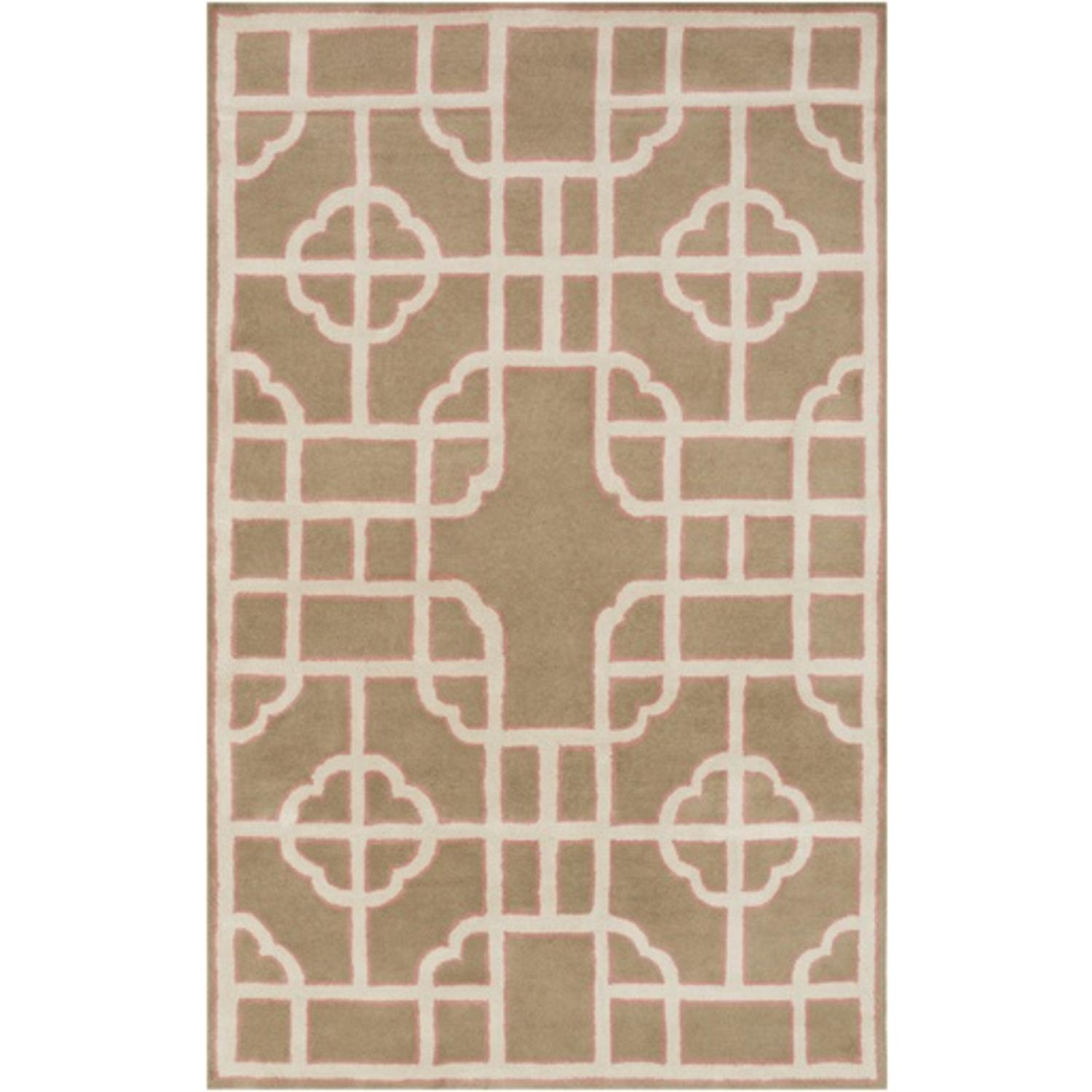 8' x 11' Mosaic Delight Cream White and Tuscan Tan Hand Tufted Area Throw Rug