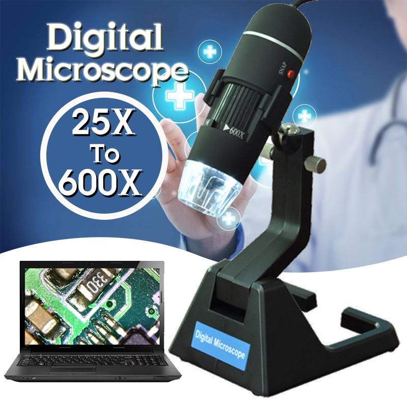 2MP USB 25X-600X 8 LED Digital Microscope Endoscope Magnifier Camera + Stand