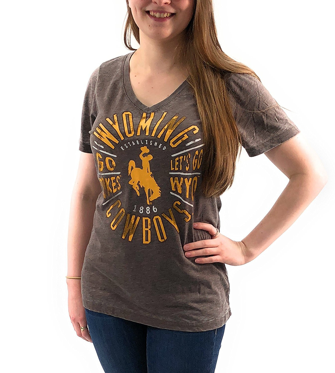 Creative Apparel Women's NCAA Wyoming Cowboys Sporty Text Slot Neck T-Shirt Tee