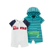 Child of Mine by Carter's Baby Boy Short Sleeve Footless 1 Piece Outfit, 2 Pack
