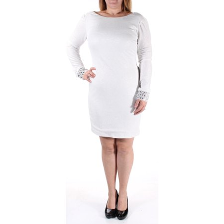 CITY STUDIO Womens Ivory Rhinestone Speckle Long Sleeve Crew Neck Knee Length Body Con Party Dress  Size: M - Spandex Suit Party City