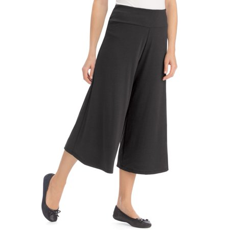 Collections EtcWomen's Knit Gaucho Pants with Elastic Waistband, Large, Machine Washable, Polyester