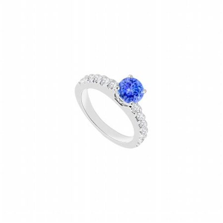 14K White Gold Tanzanite & Diamond Engagement Ring - 1 CT TGW , 12 Stones