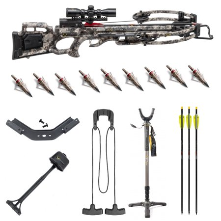 Tenpoint Titan M1 370 FPS Rope Sled Crossbow with Shooting Stick and  Broadheads