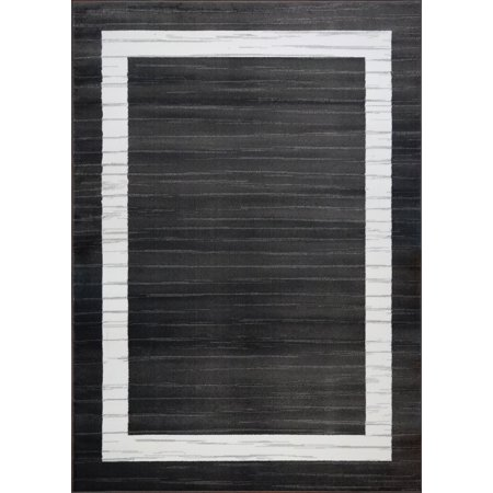 Ladole Rugs Soft Polypropylene Inspiration Collection Innovative Boarder Contemporary Style Area Rug Carpet in Black White, 4x6 (3'11