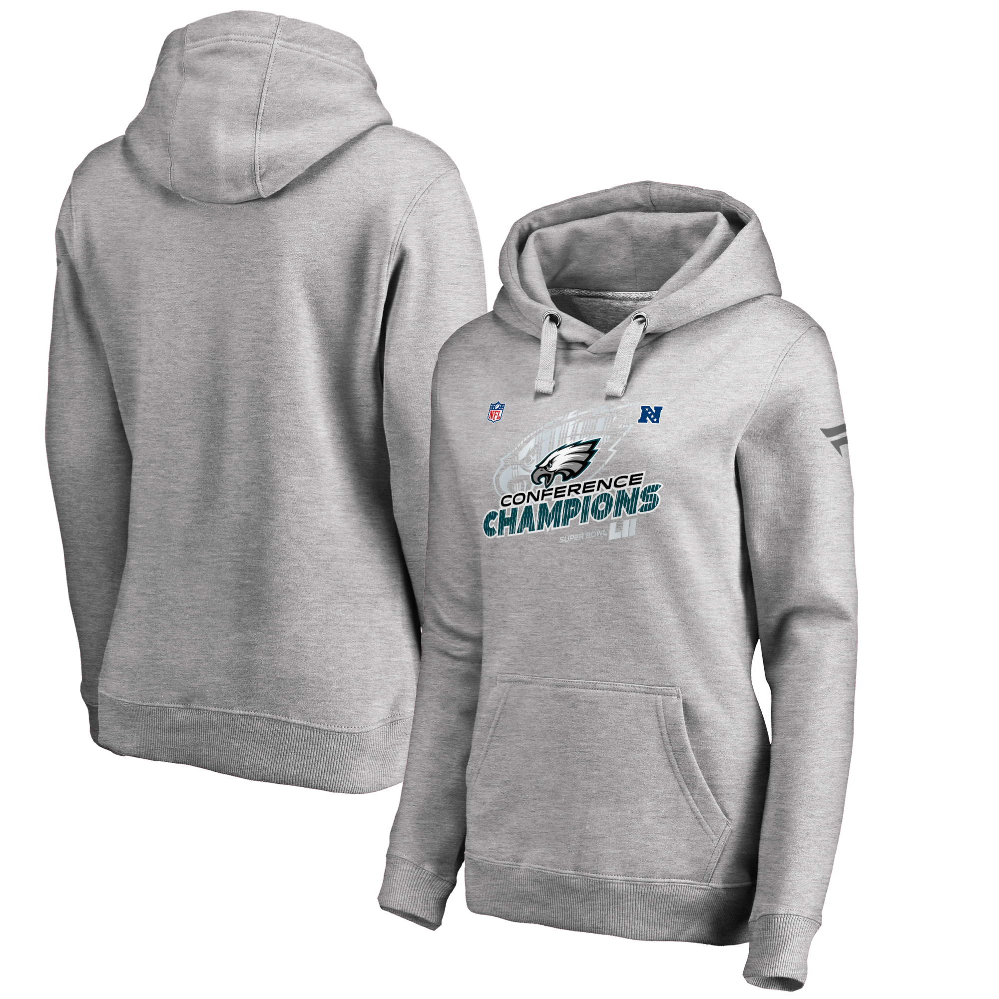 Philadelphia Eagles NFL Pro Line by Fanatics Branded Women's 2017 NFC Champions Trophy Collection Locker Room Pullover Hoodie - Heather Gray