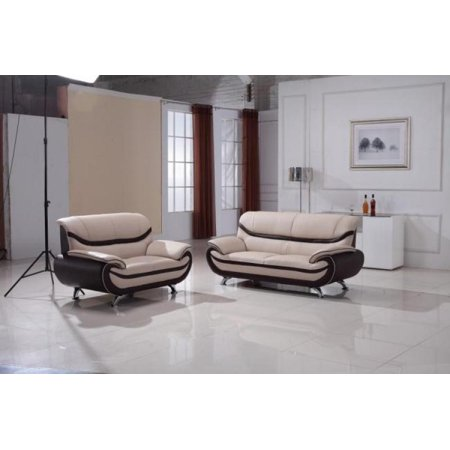 Maxwest C113 Ob Modern Oyster Brown Leather Sofa And Loveseat Set 2 Pcs