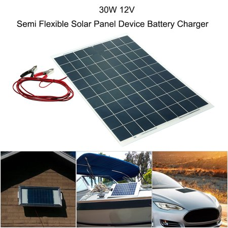 30W 12V Semi Flexible Solar Panel Device Battery Charger Monocrystalline Silicon - image 1 of 7