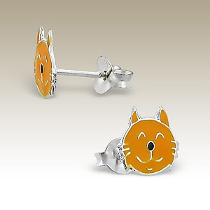 Orange Tabby Cat Face Sterling Silver Post Earrings - Tiny Child Studs