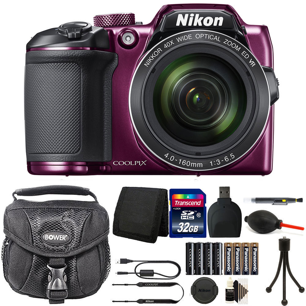 Nikon Coolpix B500 16MP Digital Camera + Extra Batteries + Top Accessories Plum
