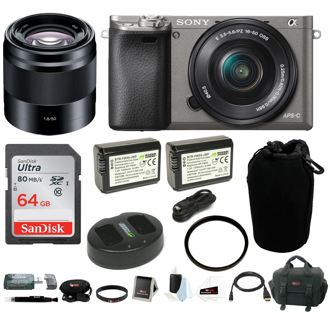 Sony Alpha a6000 Camera w/ 16-50mm & 50mm Lens Accessory Bundle - Graphite