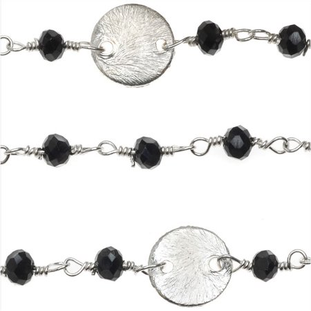 Sterling Silver Wire Wrapped Gemstone Chain, Glass Rondelles 3mm and 8mm Pailettes, By The Inch, Black (Silver Glass Gems)
