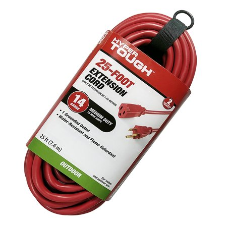 Hyper Tough 25FT 16AWG 3 Prong Red for Outdoor and Indoor Use Single Outlet Extension Cord