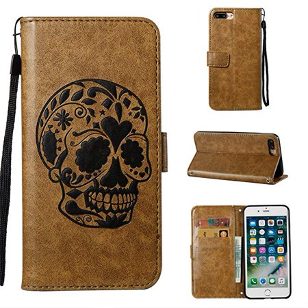 iPhone 8 Plus Case, iPhone 7 Plus Case, Allytech [Embossed Skull Series] [Kickstand] Premium PU Leather Wallet Flip Protective Case Cover with Wrist Strap for iPhone 8 Plus/ iPhone 7 Plus, Coffee (Ally Coffee)