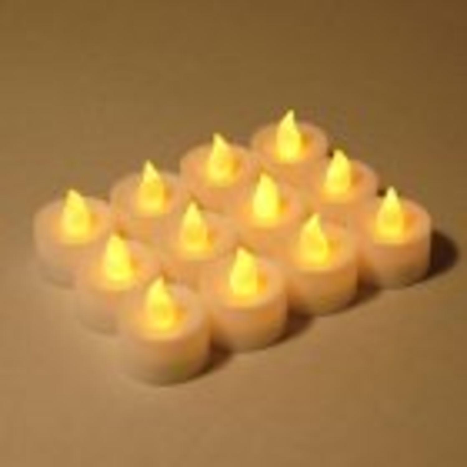 12 Battery Operated LED Flickering White Christmas Tea Light Candles