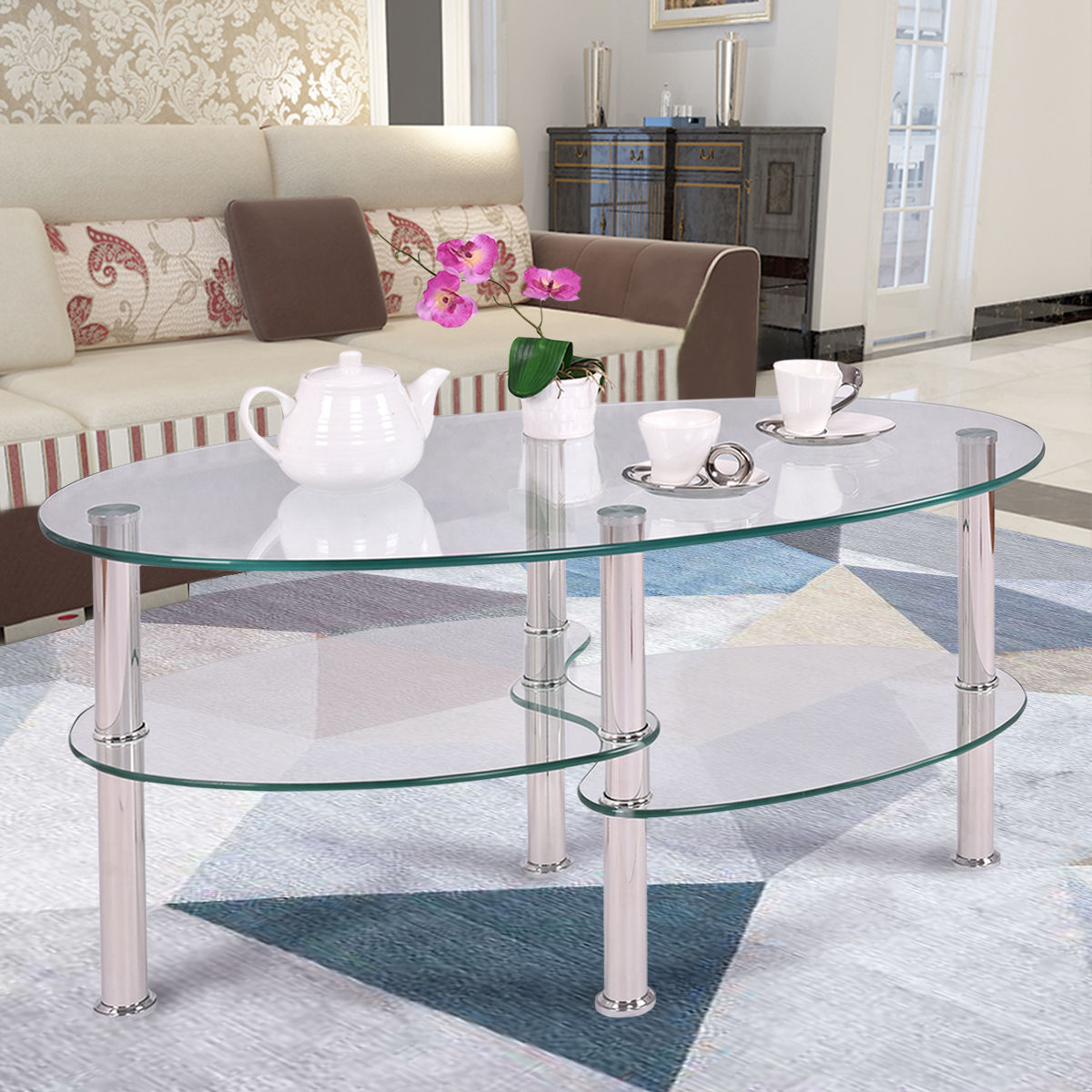 Attractive Costway Tempered Glass Oval Side Coffee Table Shelf Chrome Base Living Room  Clear