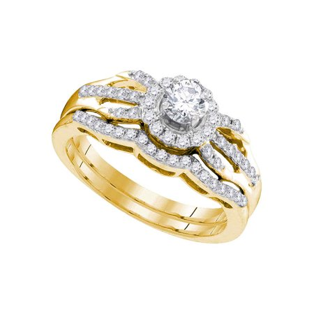 Gold Wedding Band Set - 10kt Yellow Gold Diamond Round Bridal Wedding Engagement Ring Band Set 1/2 Cttw