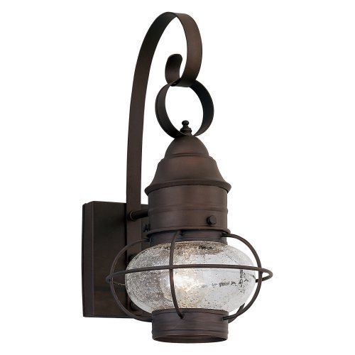 Designers Fountain Nantucket - One Light Outdoor Onion Wall Lantern, Rustique Finish with Seedy Glass