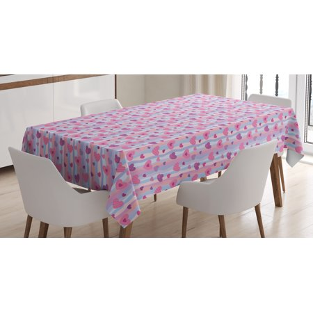Purple Tablecloth, Valentines Day Hearts with Verical Abstract Stipes Vintage Sentimental Composition, Rectangular Table Cover for Dining Room Kitchen, 60 X 90 Inches, Multicolor, by Ambesonne - Valentines Tablecloth