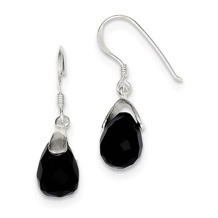 925 Sterling Silver Polished Black Onyx Faceted Dangle Onyx Teardrop Earrings