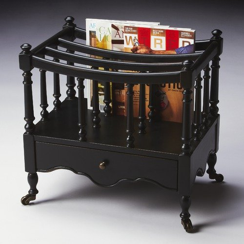 Butler Masterpiece Canterbury Magazine Rack in Distressed Black Licorice