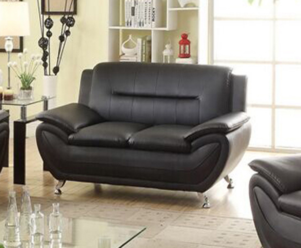 Attractive Generic, Norton Faux Leather Modern Loveseat, Black