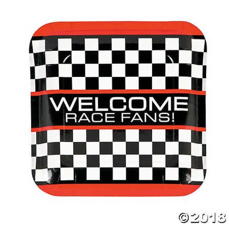 Race Car Checkered Flag Paper Dinner Plates](Race Car Plates)