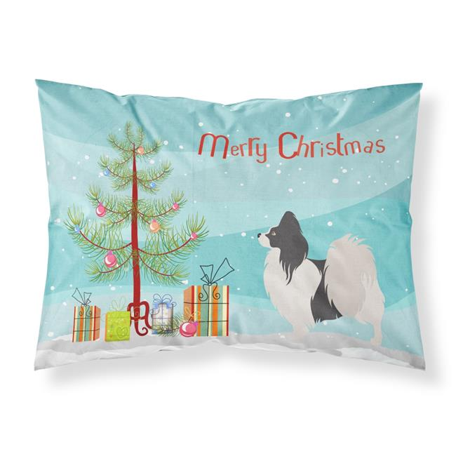 Carolines Treasures BB8484PILLOWCASE Papillon Christmas Fabric Standard Pillowcase - image 1 of 1