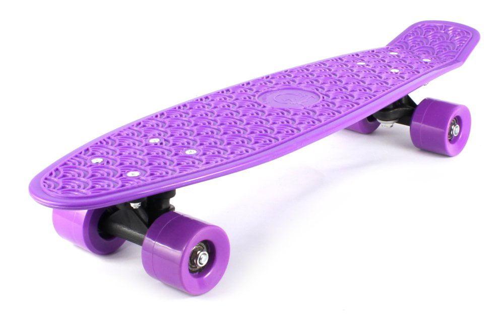 "Retro Wave Cruiser Complete 22"" Banana Skateboard (Purple) by Velocity Toys"