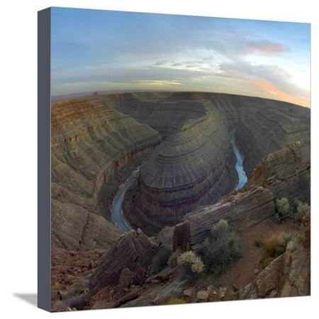 Sunset at Goosenecks of the San Juan River, Utah Stretched Canvas Print Wall Art By Tim Fitzharris