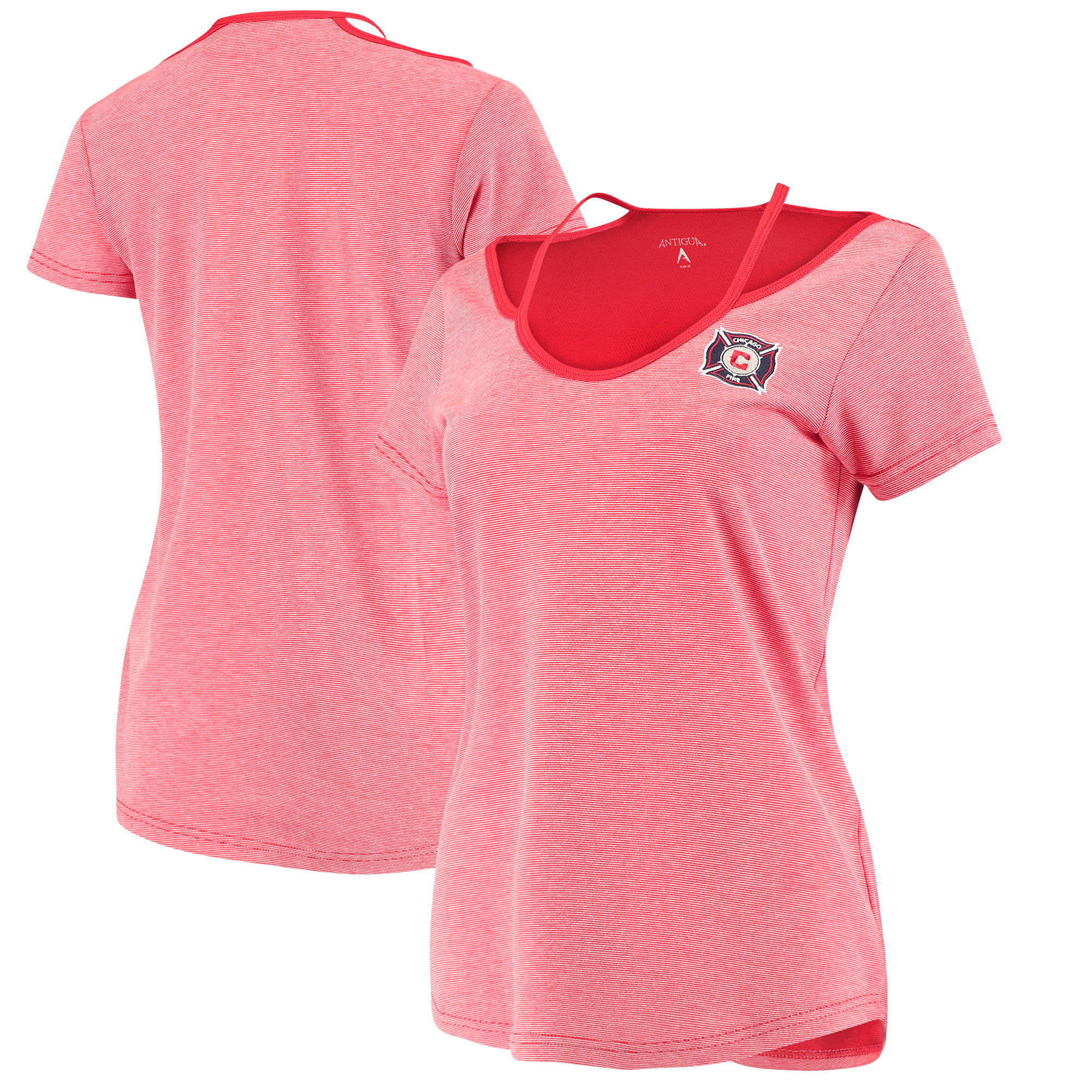 Chicago Fire Antigua Women's Hitter Cut Out T-Shirt - Red/Gray