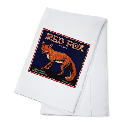 Red Fox Brand - Orange, California - Citrus Crate Label (100% Cotton Kitchen Towel) (California Orange Crate Label)