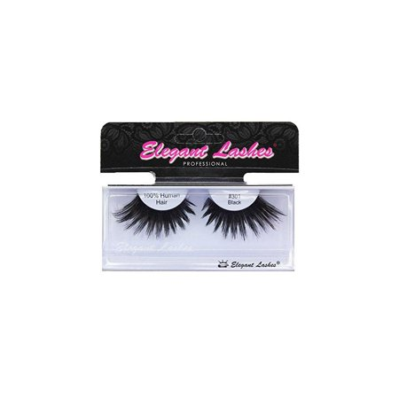 elegant lashes #301 thick long black human hair false eyelashes for drag queen halloween dance rave costume](Drag For Halloween)