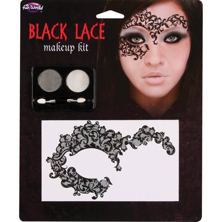 Black Halloween Makeup (Black Lace Makeup Kit Adult Halloween)