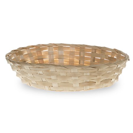 Wide Oval Composite Bamboo - Oval Natural Bamboo Utility Tray Basket 10in
