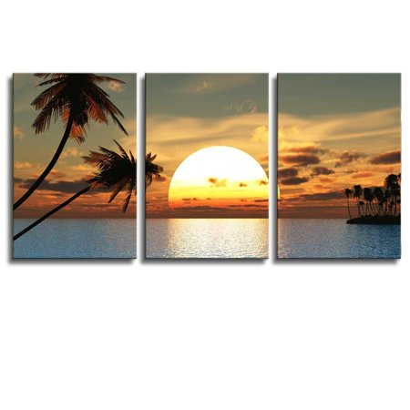 Huge Original Art (Huge Tropical Palm Tree Sunset Peace Giclee Canvas Wrap Wall Art - 24