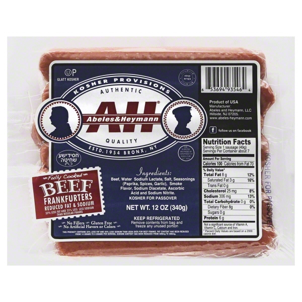 Image of Abeles And Hyman A Red Fat Beef Franks 12 Oz