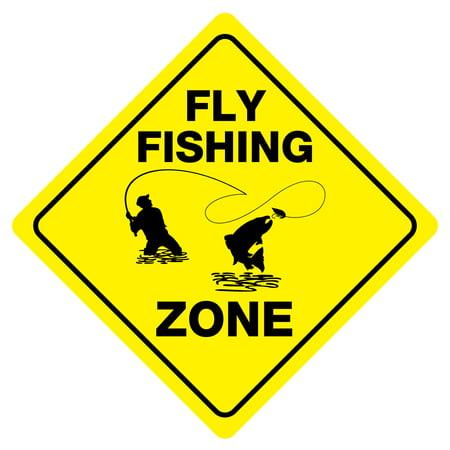FLY FISHING ZONE Funny Novelty Crossing Sign (Fishing Novelties)