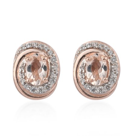 Stud Solitaire Earrings 925 Sterling Silver Vermeil Rose Gold Morganite Zircon Jewelry for Women Gift Ct 1.8 Gold Vermeil Chandelier Earrings