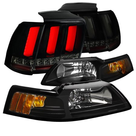 Spec-D Tuning Black 1999-2004 Ford Mustang Cobra Headlights + Sequential Signal Led Tube Tail Lights 99 00 01 02 03 04