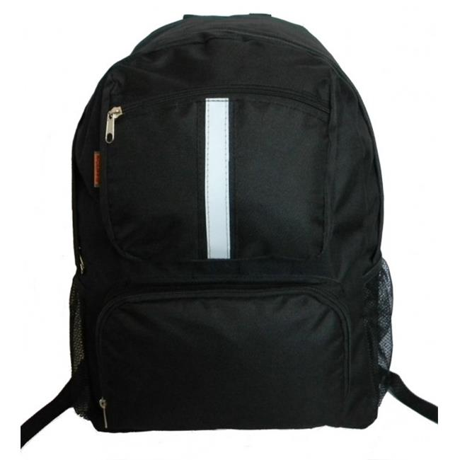 K-Cliffs Backpack With Reflective Stripe, 18 x 13 x 6 inch Black