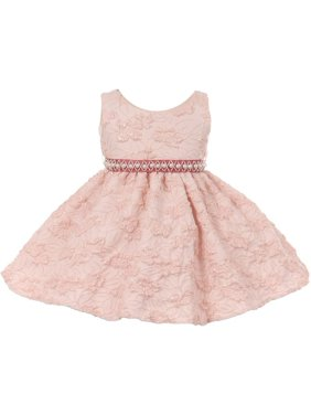 72180ccbad2 Product Image Chic Baby Girls Pink Embroidered Pearl Accented Flower Girl  Dress