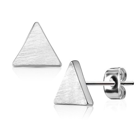 Geo-Shaped Surgical Steel Brushed Finish Stud Earrings