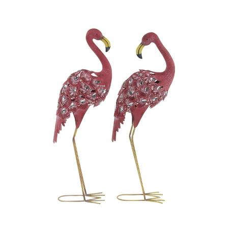 04 Flamingo (Decmode Eclectic 38 Inch Pink Iron Flamingo Sculptures - Set of)