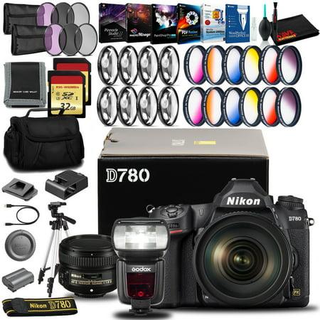 Nikon D780 DSLR Camera with 24-120mm Lens (Intl Model), 50mm Lens, Flash, and More
