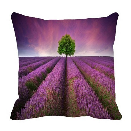 PHFZK Nature View Sunset Pillow Case, Beautiful Lavender Field Pillowcase Throw Pillow Cushion Cover Two Sides Size 18x18 (Lavender Fields Gift Basket)