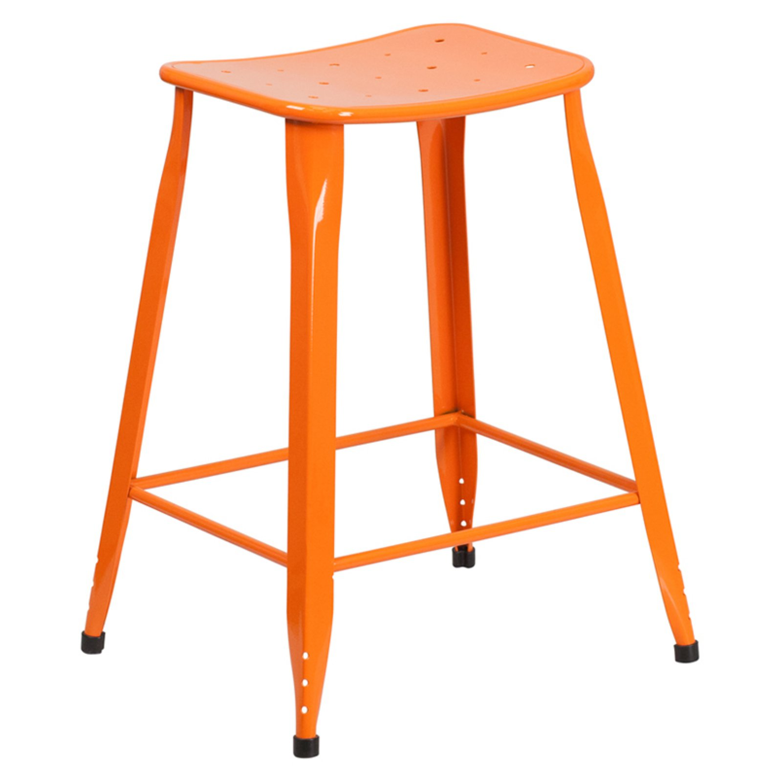 Flash Furniture 24 in. High Metal Indoor/Outdoor Counter Stool