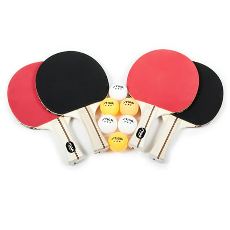 STIGA Performance 4-Player Table Tennis Racket Set Includes Four Performance Rackets and Six 3-Star (Best Butterfly Ping Pong Paddle)